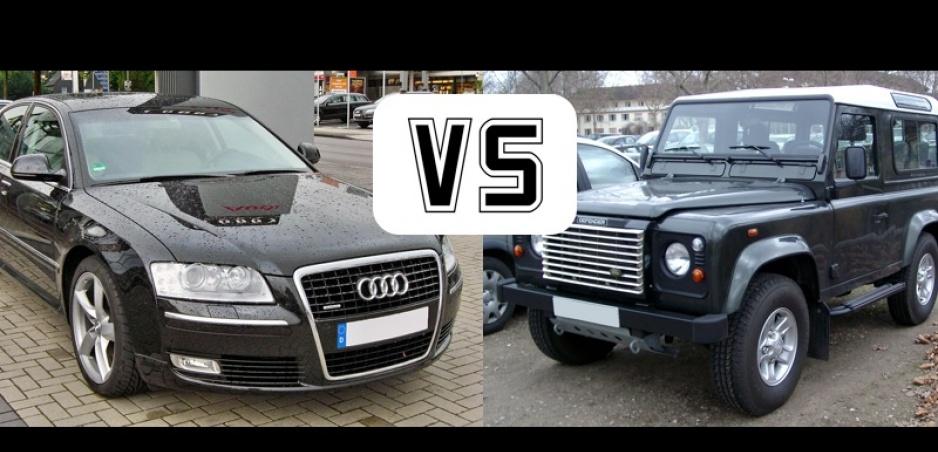 Vojna v preťahovaní: Audi A8 vs. Land Rover Defender